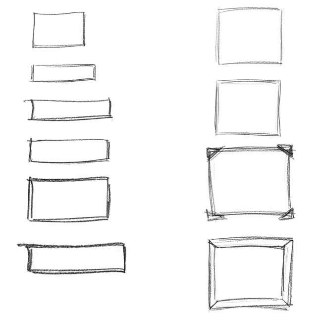 Bleistift-Rahmen als Photoshop-Pinsel und Vektor